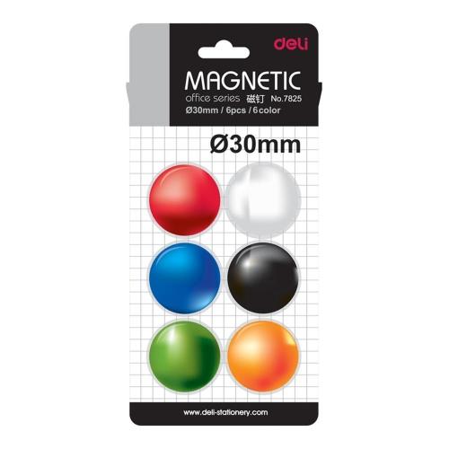 Μαγνήτες Deli στρογγυλοί 30 mm 6 τεμ.