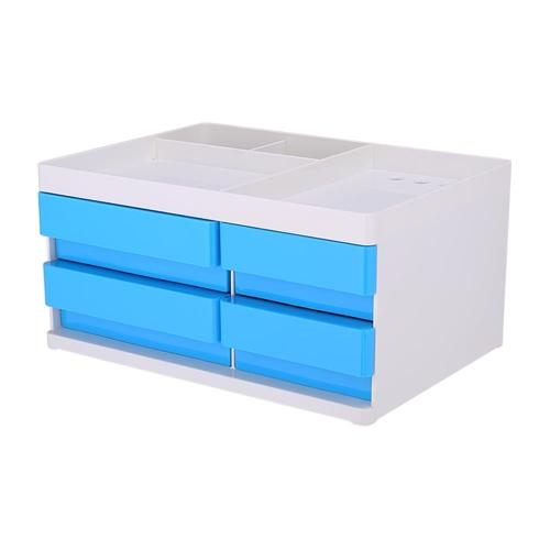 Συρταριέρα πλαστική 4 θέσεων Deli μικρή με θήκες μπλε
