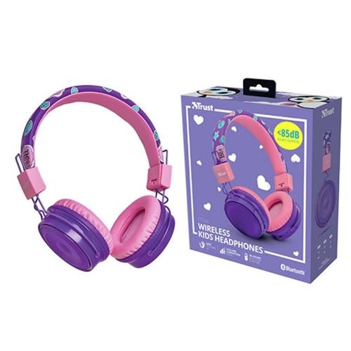 Ακουστικά ασύρματα Trust bluetooth παιδικά Comi μωβ