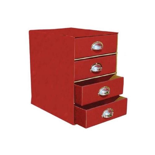 Συρταριέρα χάρτινη 4 θέσεων με λαβές κόκκινη