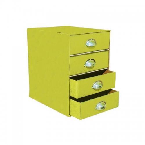 Συρταριέρα χάρτινη 4 θέσεων με λαβές κίτρινη