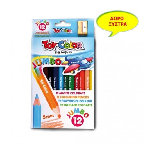 Ξυλομπογιές Toy Color  χονδρές με ξύστρα 12 τεμ