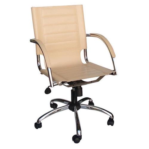 Καρέκλα γραφείου διευθυντική τροχήλατη Welltrust μπεζ δέρμα με μεταλλική βάση