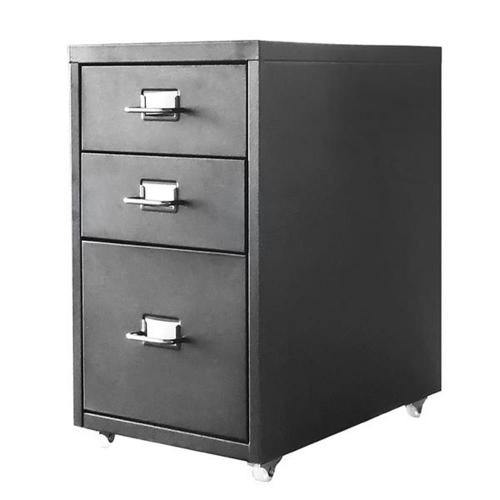 Συρταριέρα μεταλλική 3 θέσεων Nextdeco με λαβές μαύρη