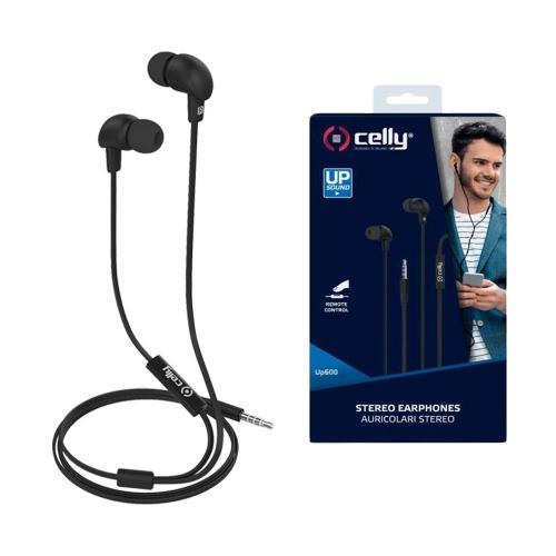 Ακουστικά με μικρόφωνο Celly flat cable μαύρα