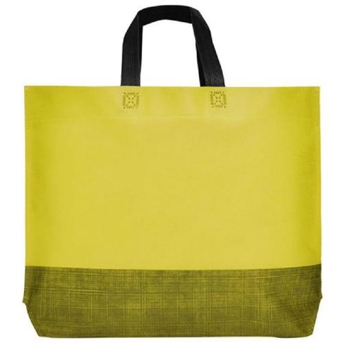 Τσάντα non woven κοντό χερούλι με πιέτα κίτρινη