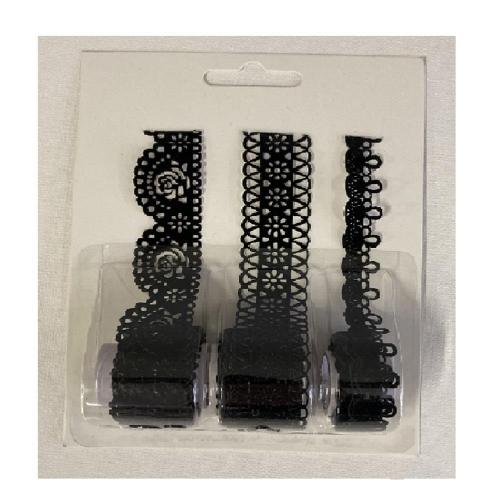 Δαντέλα βελούδινη μαύρη 3 σχέδια 1 μέτρο/ρολό