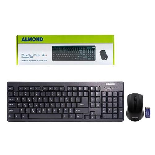 Πληκτρολόγιο και ποντίκι Almond 1000 dpi wireless black