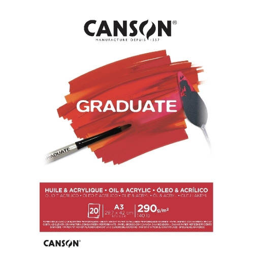 Μπλοκ καμβά Canson Graduate Oil-Acrylic 290gr Α3 20 φύλλα