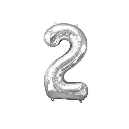 Μπαλόνι αριθμός 2 μεταλλιζέ silver 40 cm