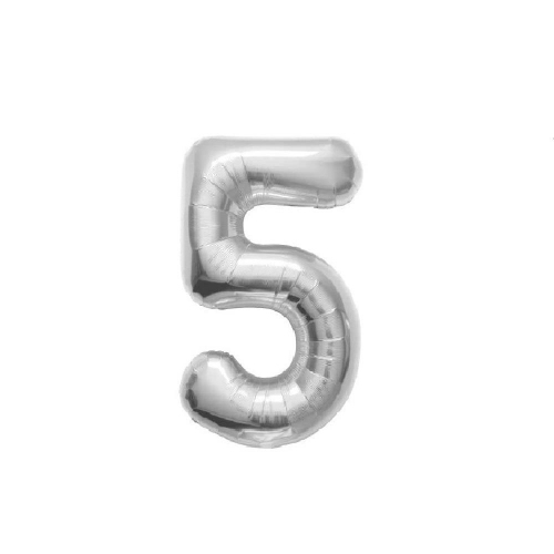 Μπαλόνι αριθμός 5 μεταλλιζέ silver 40 cm