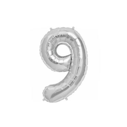 Μπαλόνι αριθμός 9 μεταλλιζέ silver 40 cm