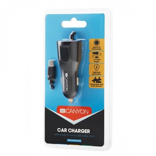 Canyon C-031 Universal USB car adapter   Micro USB connector, 2.4A, Black - CNE-CCA031B-US