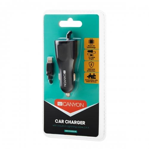 Canyon C-033 Universal USB car adapter   Lightning connector, 2.4A, Black - CNE-CCA033B-US