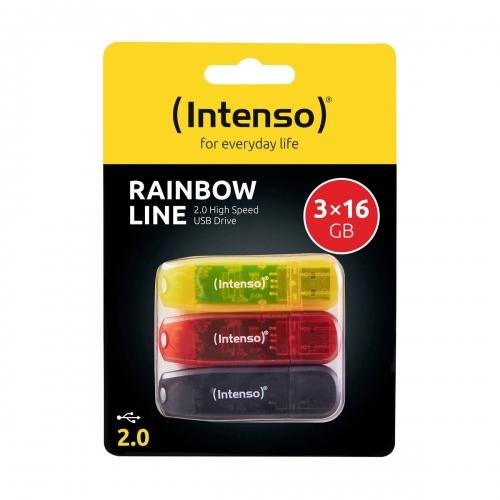 USB Stick Intenso 3 x 16 GB Rainbow Triple Pack - 3502473