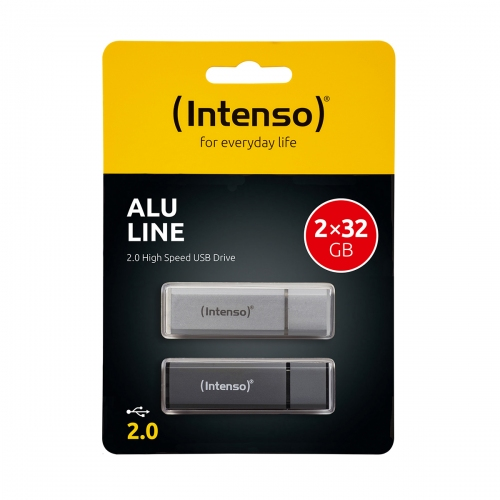 USB Stick Intenso 2 x 32 GB Alu Line Double Pack Antracite - Silver - 3521480