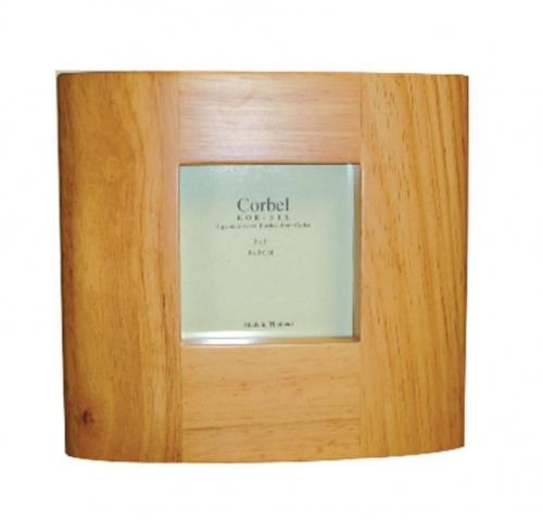 Κορνίζα ξύλινη καφέ οβάλ για φωτό 7,5x7,5εκ.