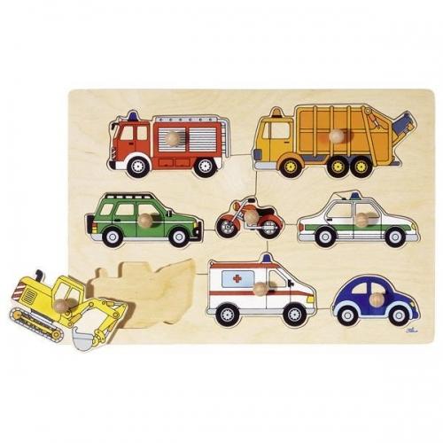 """Goki παζλ - σφηνώματα  ξύλινο """"Μέσα μεταφοράς"""" 30x21εκ. 8 τεμαχίων"""