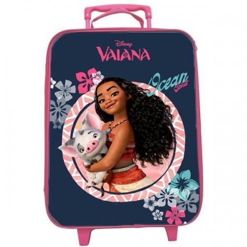 "Bagtrotter βαλίτσα ταξιδίου τροχήλατη ""Vaiana"" σκ. μπλε-ροζ 41x31x15εκ."