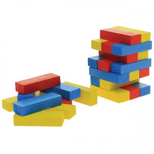 Επιτραπέζιο Jenga ξύλινο χρωματιστό 45 τεμαχίων Υ15x5x5εκ.