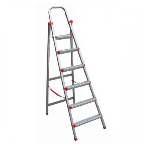 Σκάλα αλουμινίου με 6 σκαλοπάτια ασημί  Υ200εκ.