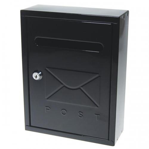 Γραμματοκιβώτιο Υ26x20x7,5εκ., μεταλλικό, μαύρο με κλειδί