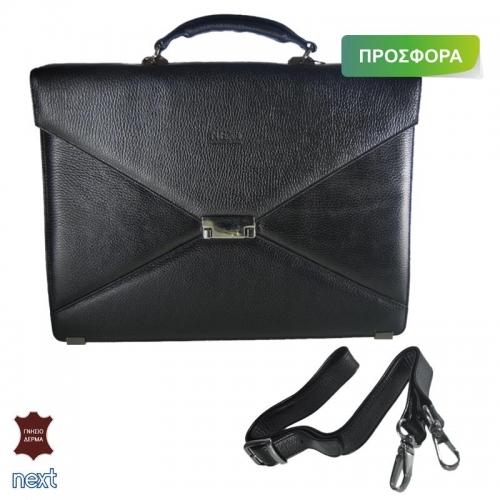 Δερμάτινη τσάντα επαγγελματική 30x40x11εκ. μαύρη